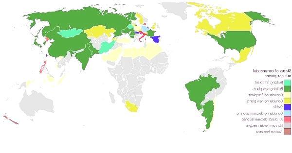 mapa de plantas nucleares