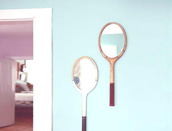 Reciclar viejas raquetas en espejos