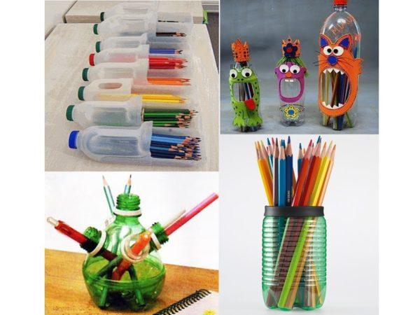 reciclar-cosas-viejas-botellas-de-plastico-convertidas-en-lapiceros