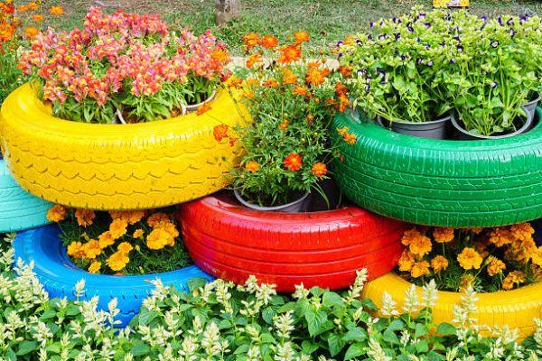 Reciclaje ideas para decorar tu casa con plantas neumatico