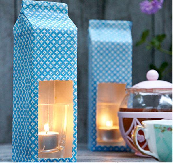 Manualidades recicladas cartones leche lamparas