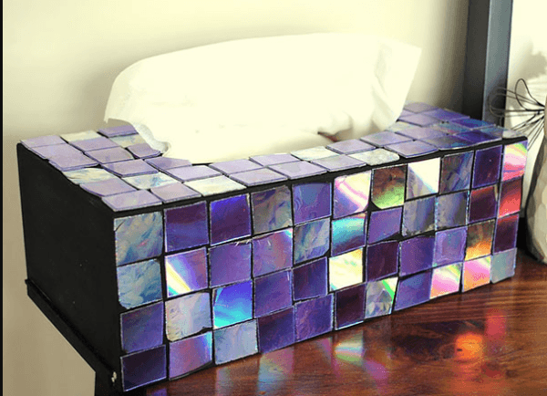 Mejores manualidades e ideas para reciclar CD caja pañuelos