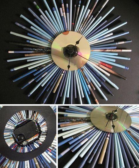 Mejores manualidades e ideas para reciclar CD reloj
