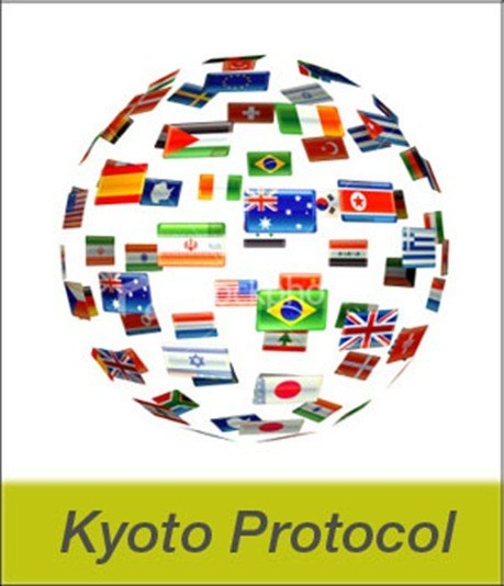 kyoto protocol An international agreement that aims to reduce carbon dioxide emissions and the presence of greenhouse gases countries that ratify the kyoto protocol are assigned maximum carbon emission.