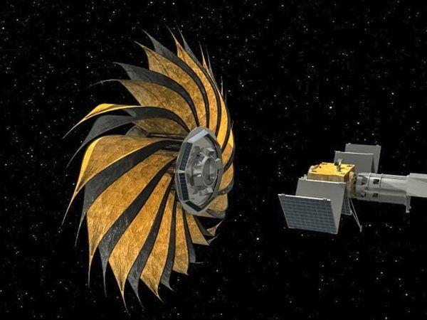 Esta representación artística muestra el despliegue de una sombrilla estelar –una pantalla gigante en forma de flor para bloquear la luz estelar