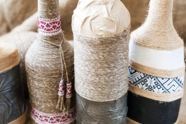 Decoracion de botellas con cordones y cuerdas