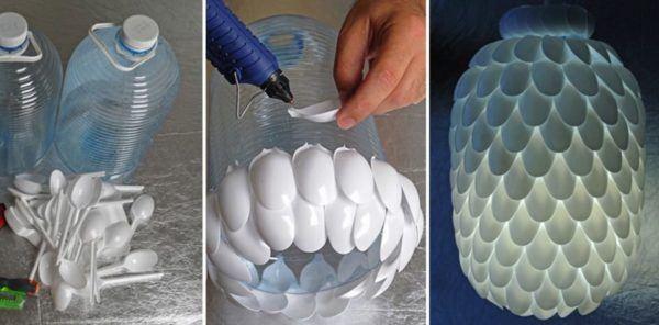 Lámparas con cucharas de plástico